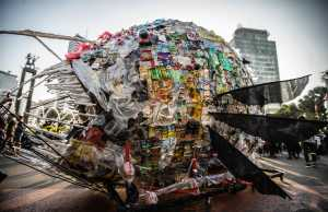 Greenpeace collaborates with NGO's create a giant Plastic Monster to support Jakarta against single use plastic in Jakarta. Greenpeace also urges the Fast Moving Consumer Goods (FMCG) corporation responsible to their packaging that is using single use plastic.