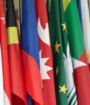 Flaggen verschiedener Wirtschaften Asien-Pazifik