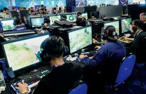 eSports players at a tournament, Asia